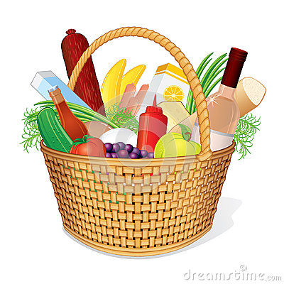Hamper do piquenique com alimento