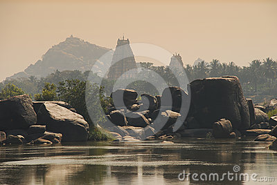 Hampi, Karnataka, India. Sunset Lights