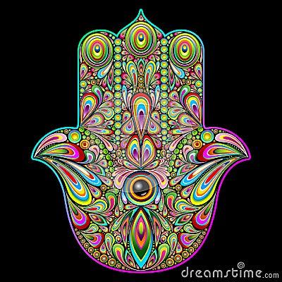 Free Hamsa Hand Psychedelic Art Stock Photo - 62440670