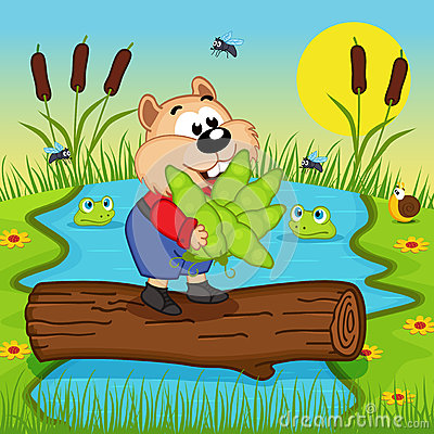 Free Hamster With Peas Cross The River Stock Image - 51805591