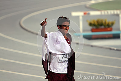 Hamza Driouch from Qatar celebrates winning Editorial Stock Image