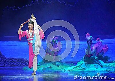 Han girl-Hui ballet moon over Helan Editorial Stock Image