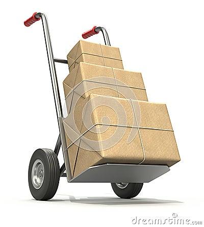 Hand åker lastbil med tre postar paketerar