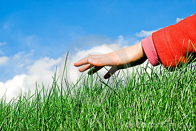 Hand above the grass