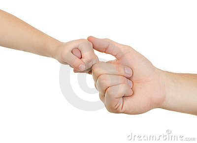 Hand adult and child