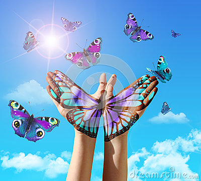 Free Hand And Butterfly Hand Painting, Tattoo, Over A Blue Sky. Royalty Free Stock Photo - 39494425