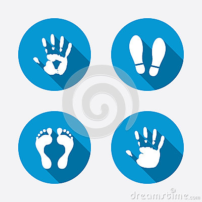 Free Hand And Foot Print Icons. Imprint Shoes Symbol Stock Photos - 53195913