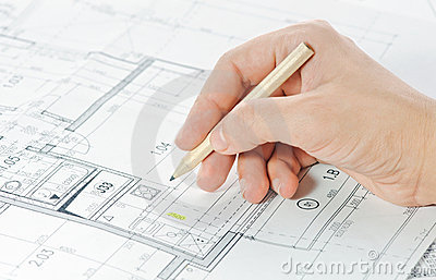 Hand and architectural project