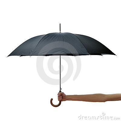 Hand and arm holding black umbrella