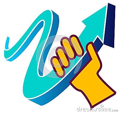 Hand with arrow