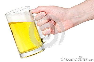 Hand with beer-mug