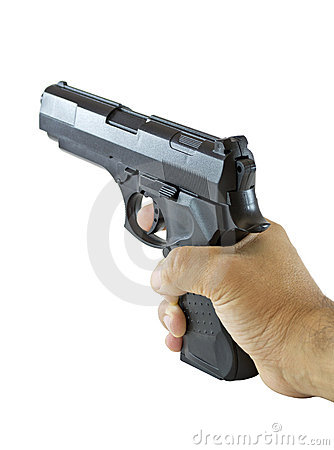 Hand with black gun
