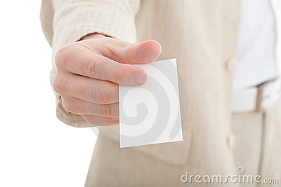 Hand with blank business card