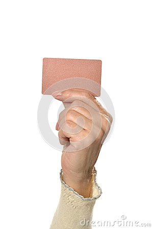 Hand with blank card isolated Stock Photo