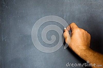 Hand on a blank chalkboard