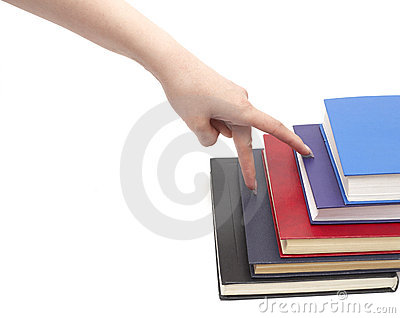 Hand and book