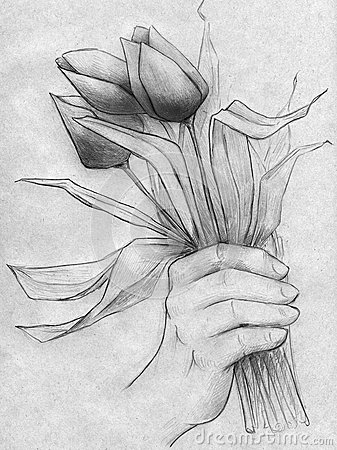 Hand with a bouquet of tulips