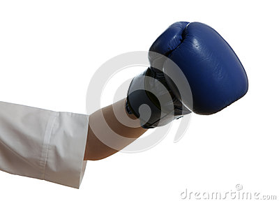 Hand in boxing glove