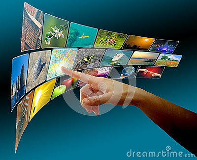 Hand browsing images in touch screen virtual space