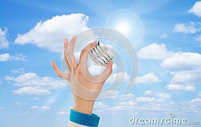 Hand bulb sky