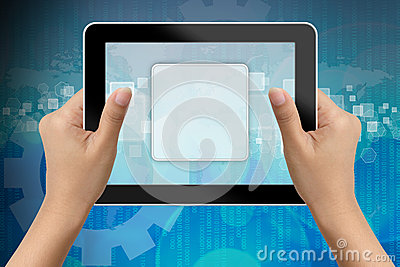 Hand of business woman holding digital tablet