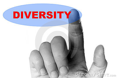 Hand and button with word of diversity