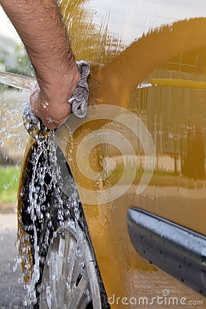 Hand car wash - close up rear
