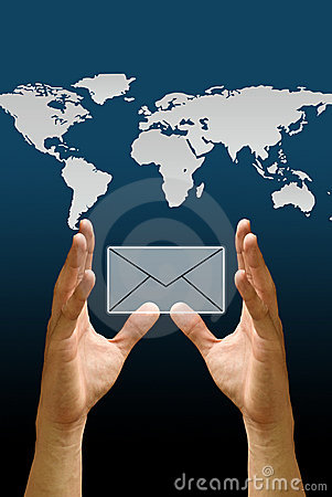 Hand carry the email icon with the world map