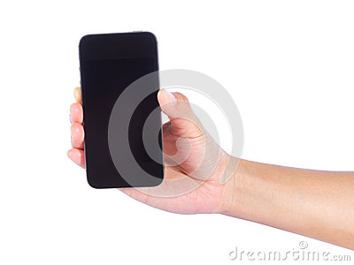 Hand of a caucasian female to mobile phone
