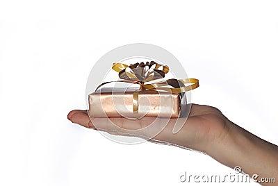 Hand with Christmas gift