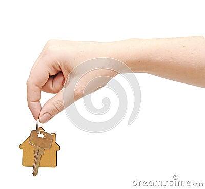 Hand with chrome house key