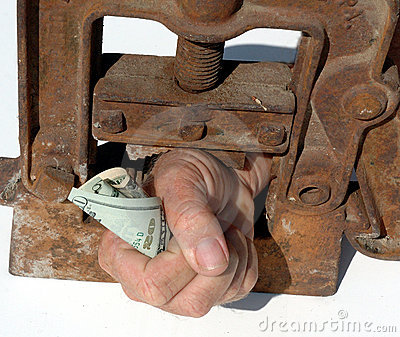 Hand clamped with money