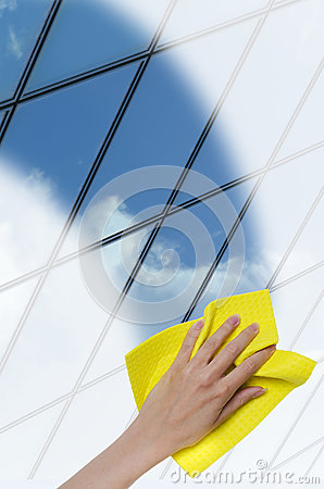 Free Hand Cleaning A Glass Surface Of A Building Royalty Free Stock Images - 37559859