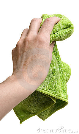 Hand with cleaning rag