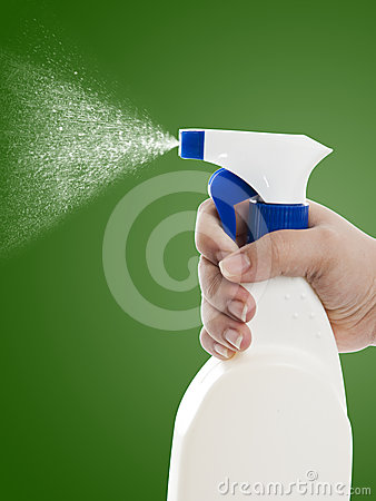Hand With Cleaning Spray Bottle