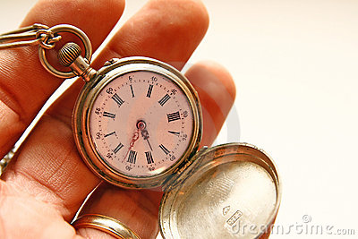 The hand clock in a hand