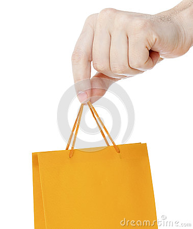 Hand close up with orange shopping bag isolated