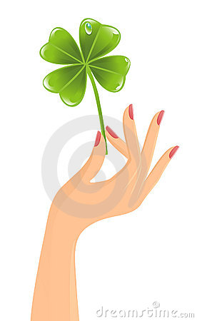 Hand with clover leaf