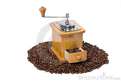 Hand coffee-grinder full of coffee