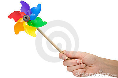 Hand with a color pinwheel.