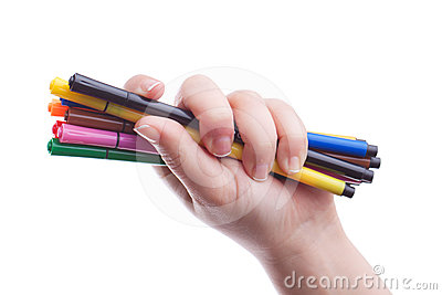 Hand with colorful pens