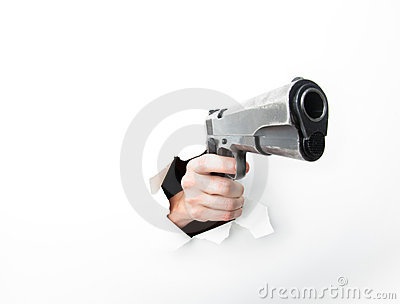 Hand coming through hole with big gun