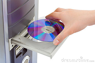 Hand and computer cd-rom
