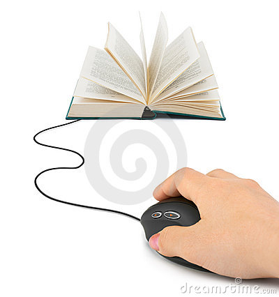 Hand with computer mouse and book