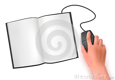 Hand with computer mouse and book  a
