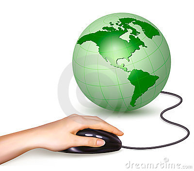 Hand with computer mouse and green globe  Vector