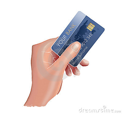 Hand and a credit card.