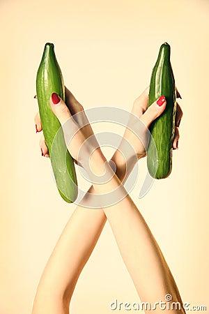 Hand cucumber organic vegetable