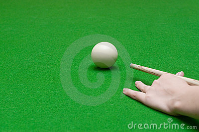 Hand with cue ready to hit a ball