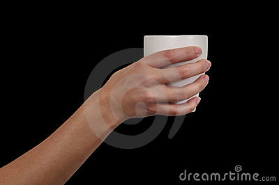 Hand with cup of tea